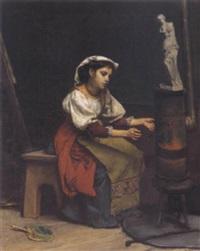 junge italienerin vor einem ofen by cecil van haanen