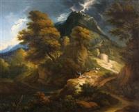 berglandschaft bei aufziehendem gewitter by jan baptist huysmans