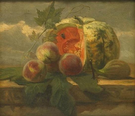 a still life with a melon, peaches and a fig by simon saint-jean