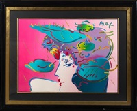 woman in profile by peter max