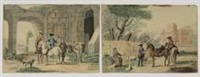 two horsemen addressing a shepherdess, a city in the background. two horsemen addressing a man with a donkey in front of an old gate (2 works) by nicolaas aartman