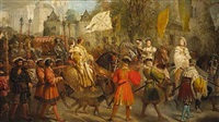 a royal procession with numerous attendant dignitaries by edward henry corbould