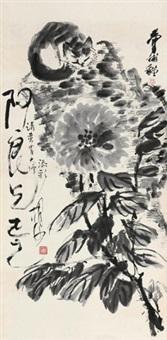 猫石牡丹 立轴 水墨纸本 by hu sha and huang zhou