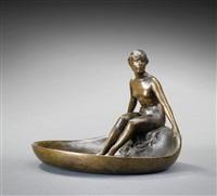 weiblicher frauenakt auf schale sitzend by adolf meyer
