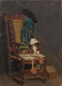 stillleben - alter stuhl, dreimaster, buch mit siegel by max liebermann