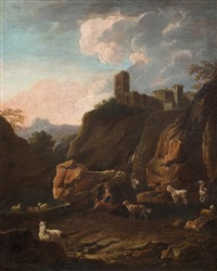 hirte mit seiner herde am wasser bei einer ruine by philipp peter roos