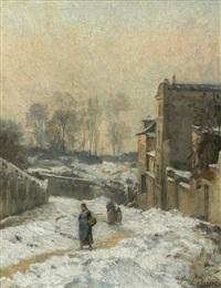 montmartre. la rue cortot, effet de neige by stanislas lépine