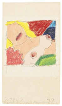 sketch for nude painting print by tom wesselmann
