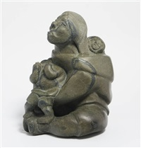 seated woman with eyes closed by quvianatuliak takpaungai