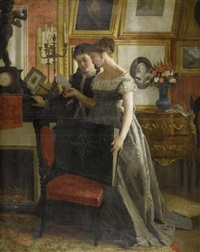 zwei junge damen in einem kabinett by charles victor thirion