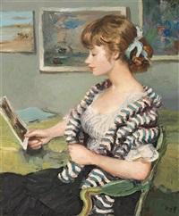 jeune femme à l'estampe by marcel dyf