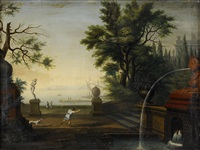palatsterrass med fontän by frederick de moucheron