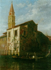 a view of the campanile of san francesco, venice by william graham