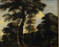 skogslandskap med figurer by jacques d' arthois