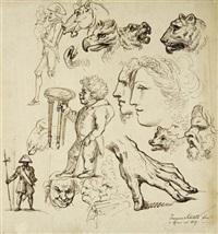 tierköpfe, menschen im profil und andere (studies) by francesco sabatelli