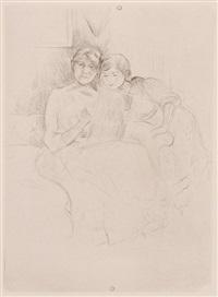 berthe morisot dessinant, avec sa fille by berthe morisot