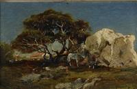landskap med hästar by victor pierre huguet