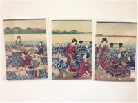 crossing the river minakawa (3 works) by utagawa yoshitora