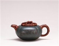 teapot in the shape of persimmon by jiang yongxi and wu yungen