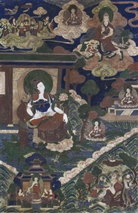 a buddhist deity seated atop a thrown at the center left, with white skin and holding a scepter in one hand and raised atop a lotus blossom base, ... by anonymous-sino-tibetan