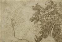 landschaft mit drei personen, davon eine hinter einem baum versteckt by paul bril