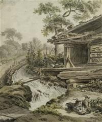 alte scheune an einem rauschenden bach, davor zwei lagernde ziegenböcke by balthasar anton dunker