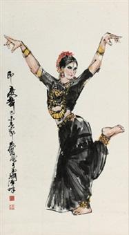 印度舞女 立轴 设色纸本 by huang zhou