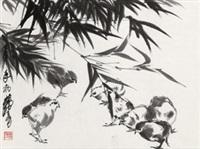 雏鸡图 立轴 设色纸本 by huang zhou