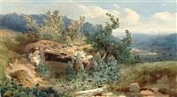 blick von einer anhöhe in ein weites gebirgstal by alexandre calame
