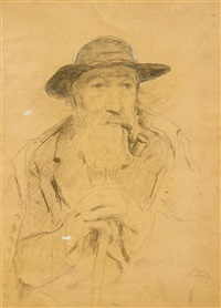 pfeife rauchender mann mit hut by albert anker