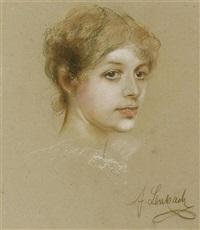 porträt einer jungen frau by franz seraph von lenbach