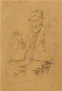 sitzender älterer mann, die zeitung lesend by albert anker
