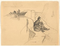 wine grower resting on the shore path at rivaz by francois-louis-david bocion