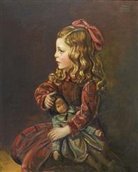 mädchen im roten kleid mit puppe by kristian krekovic