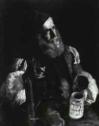 old man with a pipe and stein by arthur ahnert