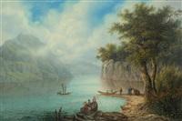 die alpnacher bucht des vierwaldstätter sees by johann ludwig (louis) bleuler