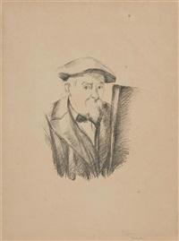 cézanne au béret devant un chevalet by paul cézanne