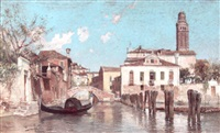 a view of a venetian side-canal with a figure on a gondola in the foreground by juan gimenez y martin