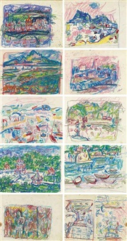 sketches of landscape (5 double-sided works) by liao chi chun