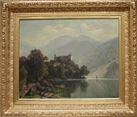 schloss an einem gebirgssee in österreich by theodor (wilhelm t.) nocken