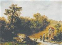 landschaft mit kleiner kapelle und betenden by max heichele