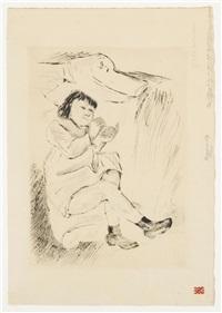 kind auf dem sofa liegend by max liebermann