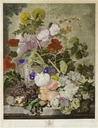 blumenstillleben mit früchten; blumenstillleben (after jan van huysum) (pair) by richard earlom