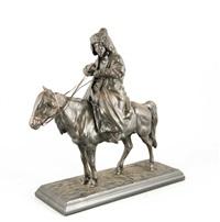 auf einem pferd sitzender, kirgisischer reiter in schwerem wintermantel und fellmütze by artemi lavrentievich ober
