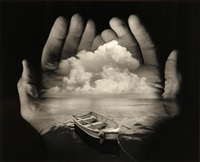 untitled (hands with boat and clouds) by jerry uelsmann