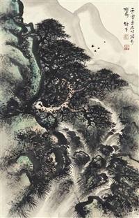 pine tree over waterfall by li xiongcai