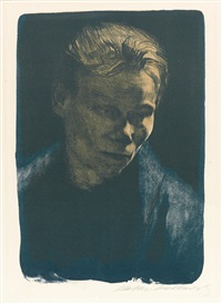 brustbild einer arbeiterfrau mit blauem tuch by käthe kollwitz
