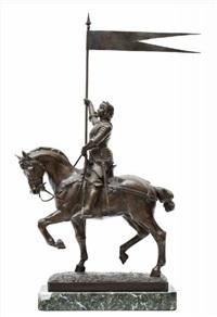 jeanne d'arc gezeten te paard met een vaandel in de rechterhand, op marmeren voet by jean louis gregoire
