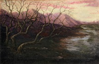 wintery sunset with mountains in the distance by paul cornoyer