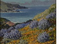 carmel coast with wildflowers by carl sammons